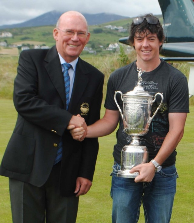 Rory McIlroy is welcomed to Ballyliffin Golf Club by club captain Colm McCarroll.