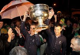 Jim McGuinness and Michael Murphy arriving in The Diamond in 2012 with the Sam Maguire cup.