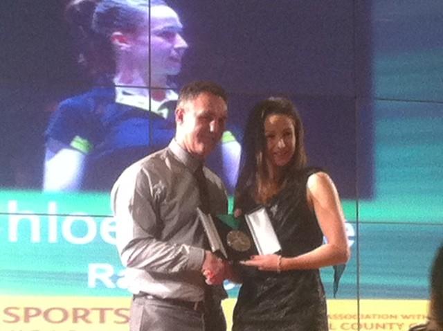 Chloe Magee gets her award