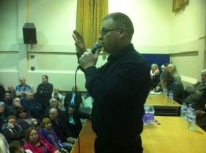 Organiser Tony Morning addresses the meeting.