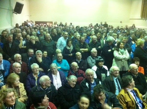 Some of the huge crowd which turned out last night to discuss break-ins