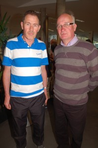 Jim Brennan and Mick Foy at the North West 10k Civic Reception in the Letterkenny Public Services Centre last night.
