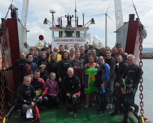Aranmore Fin Swimmers departing Burtonport slipway.