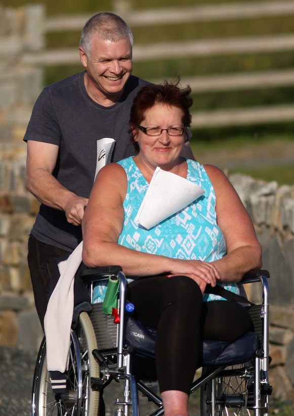 Doreen and Tim Norton take part in the 5k in Carrigart on Friday night. Photo Brian McDaid