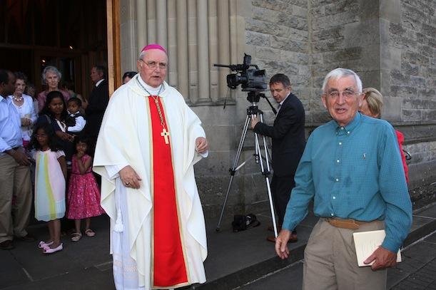Bishop Seamus Hegarty and Tony Murray following Fr Gorman's ordination at St. Eunans.