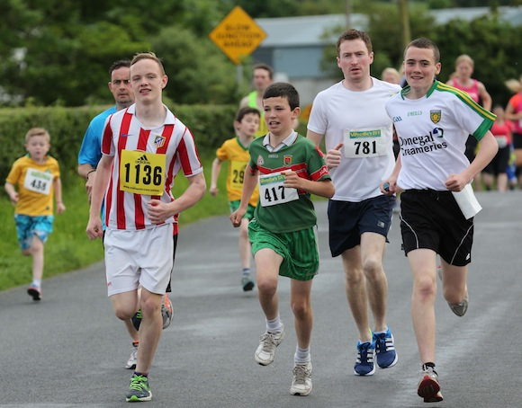 Sean Mac Cumhaills' Under-14 players Chad Mc Sorley and Shane Griffin pictured among this group taking part in the Sessiaghoneill NS 5K Fun Run & Walk. Pic.: Gary Foy, newsandsportfiles