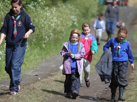 Beaver Scouts and their leader enjoying sunshine during a wee hike.  ((c) North West Newspix)