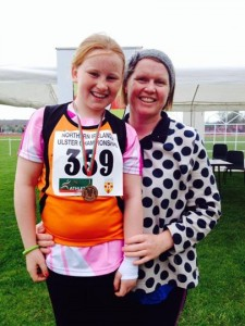Gold for Emma Maloney in the U-11 Turbo Javelin and is pictured with proud mum Mary Grace