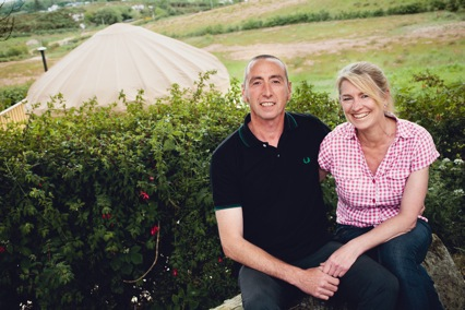 Sean Coll and Helen Haworth who have developed Portsalon Luxury Camping on a beautiful location in Portsalon overlooking Ballymastocker Bay.