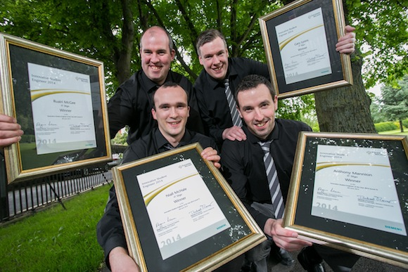 Pictured from left is Ruairi McGee, Ballyshannon, Co. Donegal;Niall McHale, Ballina, Co. Mayo; Gary Lyons, Balla, Co. Mayo ; and Anthony Mannion Ballyshannon, Co. Donegal; and student's at IT Sligo who  have been named Winners in the 2014 Engineers Ireland Level 7 Innovative Student Engineer of the Year Awards, sponsored by Siemens, for  their project of a Willow Harvester Prototype .Pic:Naoise Culhane