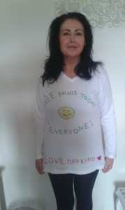 Juliette in her special 'huggable' t-shirt gets ready for Friday!