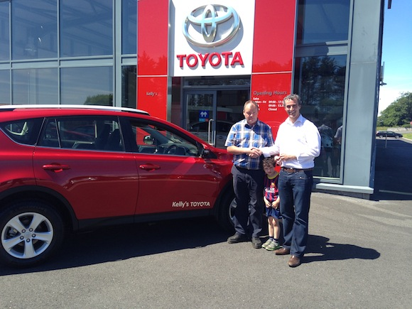 Jim Mc Guinness recieving the keys of his New Toyota Rav 4 courtesy of Kellys Toyota.   Pictured is Jim, his son Mark Anthony and dealer principal Martin Kelly.   Jim Mc Guinness is a brand ambassador for Kellys Toyota
