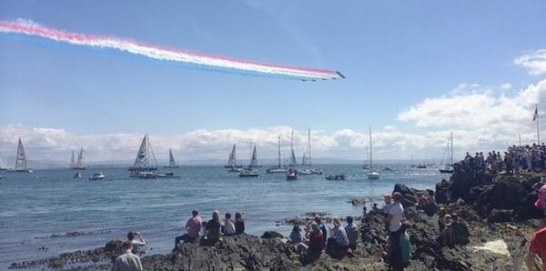 The Red Arrows flying over the Clipper fleet at the start of Race 15 at Greencastle.