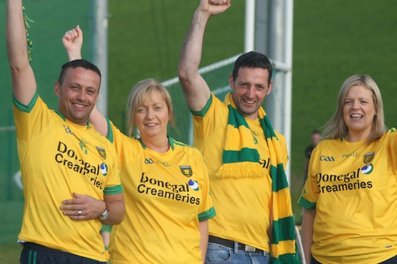 Seamus Gallen, Breege Lindsey,Ollie Reid and Deidre Browne cheer on the Donegal team in the search for the biggest Donegal fan