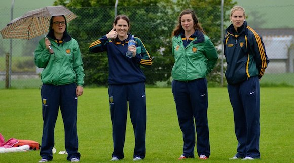 Some of the Donegal Senior Ladies squad were on hand to give encouragement to the teams