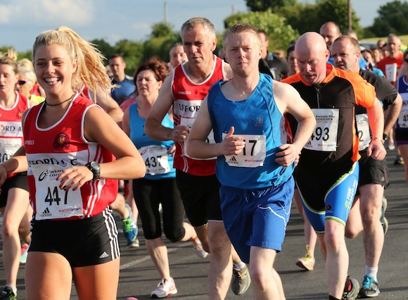 Bright sunshine welcomed the runners and walkers to St. Johnston for this evening's 5K Road Race. Pic.: Gary Foy