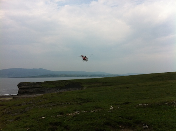 The Sligo 118 Rescue helicopter at the scene of the accident at St John's Point this evening