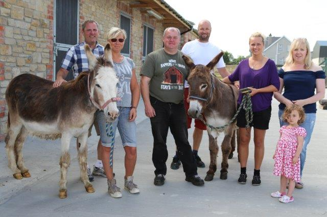 Donegal Doneky Sanctuary owner Danny Curran (centre) with Daniel and Ingela Reinholdsson, Patrike Sármens and Monica Andersson from Sweden when they arrived in Ireland to choose a few donkeys to take back to their 300 acre farm in Sweden.  Also in photo are Sandra Curran and Elsa Curran.  (North West Newspix)