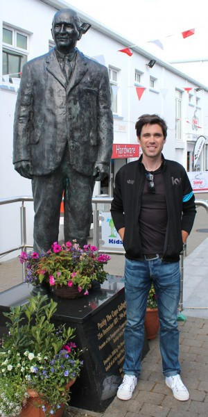 Philip Deignan with the statue of the founder of The Cope - Paddy The Cope Gallagher