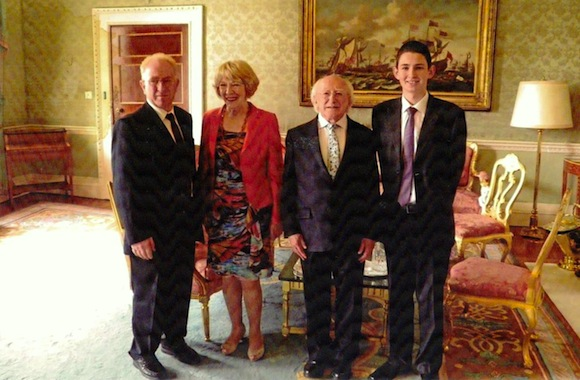 Pictured during the recent visit to Aras an Uachtarain are Michael Coll, Sabina Higgins, President Michael D Higgins and Declan Coll.