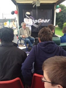 Clarkson answers questions form locals before being rumbled.