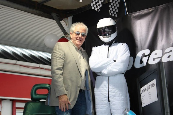 Clarkson and the Stig pose for photos.