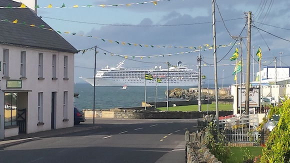 The stunning Crystal Symphony docked at Moville. Pic for Donegal Daily by Aisling McKinney.