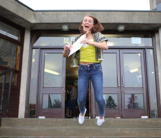 Naomi Wasson jumps for joy after receiving her Leaving Certificate Results from Royal and Prior Comprehensive.