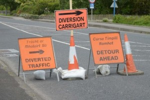 The barrage of road-signs diverting traffic away from Milford.