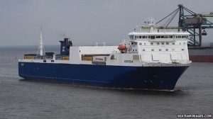 The Norstream container ship on which the people were carried.