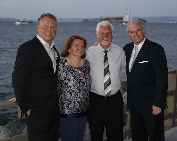 Pictured enjoying the sites of San Francisco from left to right are: Dermot Griffin, National Lottery Chief Executive; Pearl & George Bustard from Ballyboe and Marty Whelan, Winning Streak TV Gameshow host.