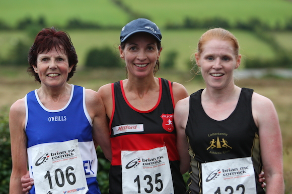 Top Three women in Ballyare 10k  L-R 3rd Noreen Bonner FVAC 1st Patricia Mc Nulty Millford AC 2nd Emma Mc Gee LAC 4M1J3763