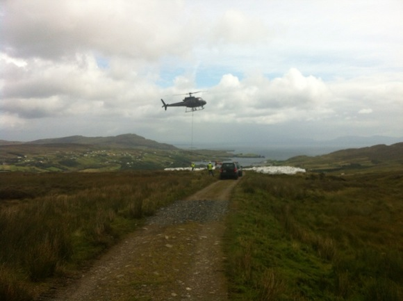 A chopper delivers stone to the pathways around Sliabh Liag.