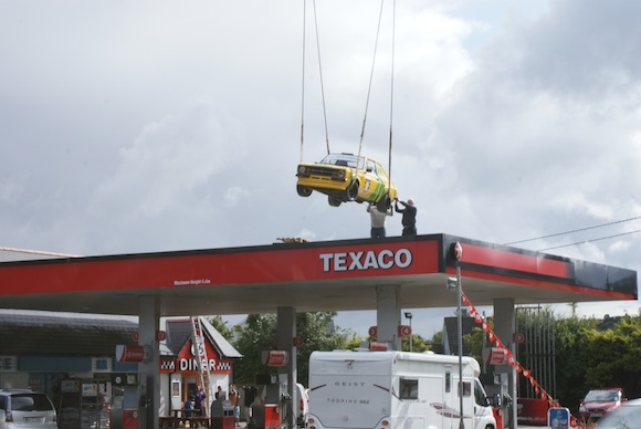 The escort is placed on top of the Dry Arch service station today.