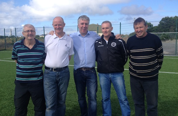John Delaney with members of Gweedore Celtic.