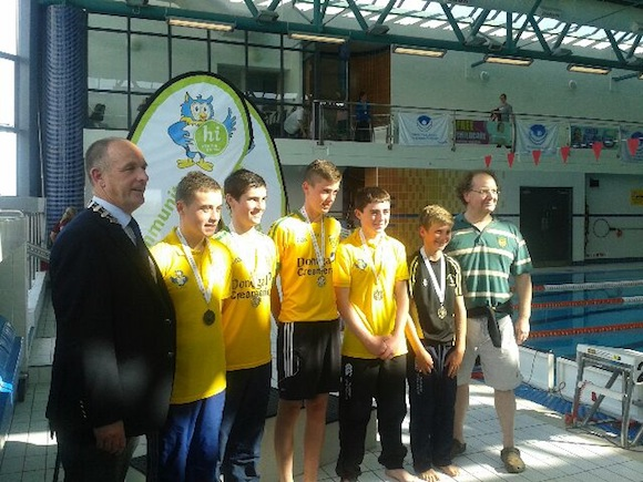 U16 medley relay team with Gerry davenport community games and coach Conor Boyce.