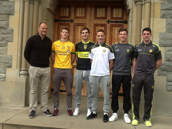 Minor players from St.Eunan's College: Conor Morrison, Michael Miller, Cormac Callaghan, Cornell O'Boyle and David Tyrell with Honours Maths teacher and Donegal Senior, Colm Anthony McFadden.