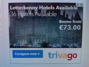 The advert for Letterkenny hotels which pictures St Eunans College!
