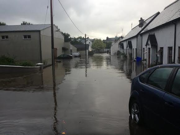The flood waters in Ramelton after the Lennon burst its banks. Donegaldaily.com