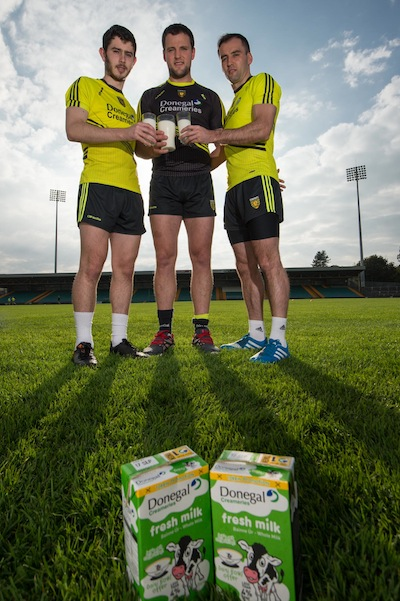 Donegal stars Ryan McHugh, Michael Murphy and Karl Lacey getting fueled up for the big game!