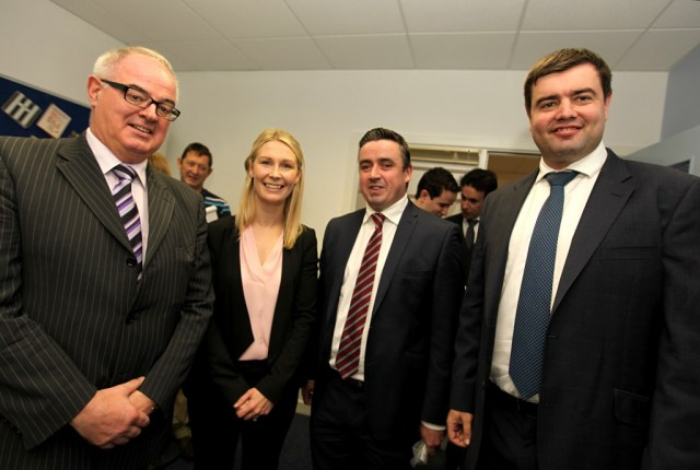 Solicitor, Jill Vance (NL Solicitors) at the official opening of Nathaniel Lacy Partners Solicitors new offices at the Riverside Centre, Letterkenny with l-r Paschal Blake (the last mayor of Letterkenny), Gerard Grant, Chairman of Letterkenny Town Chamber and Nathaniel Lacy.