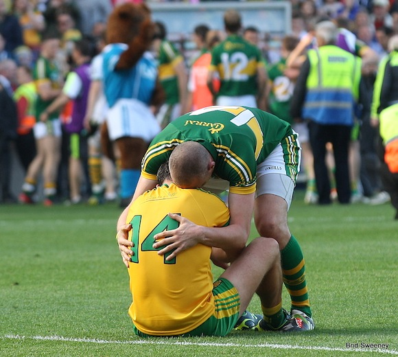 Michael Murphy is inconsolable at Croke Park as he is hugged by that man Donaghey. Pic by Brid Sweeney.