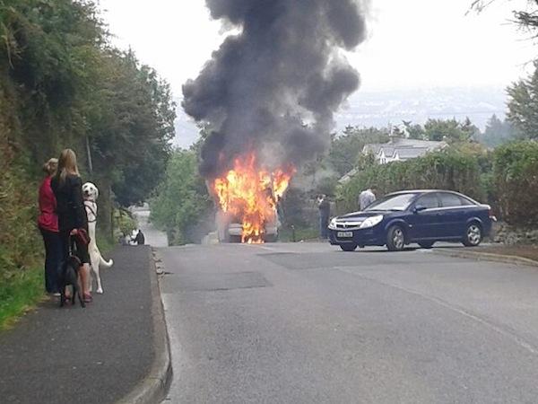 The scene of the bus blaze.
