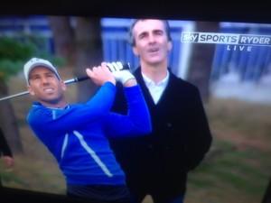Jim McGuinness keeps a close eye on Sergio Garcia's swing.