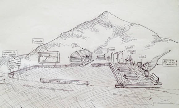 An artist's impression of a possible plan for the foot of Errigal.