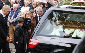 The devastated family of Kym Harley leave St Mary's Church, Stranorlar. Pic by NorthwestNewspix
