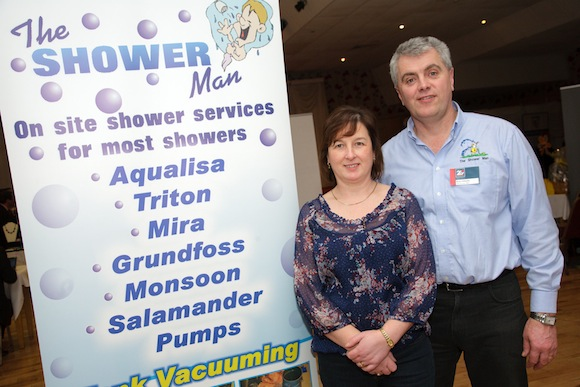 The Shower Man, Brian Gillespie, pictured with his wife Annette at last year's business showcase event in the Clanree Hotel.