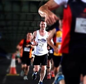Michael runs the Derry Marathon.