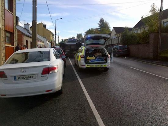 Gardai arrive at this morning's crash.
