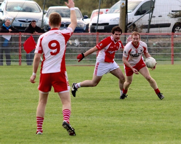 Action between Dungloe and Killybegs in Dungloe this afternoon. (Pic: Eoin Mc Garvey)